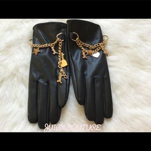🖤💋JUICY COUTURE GLOVES WITH CHARMS 💋🖤💯 OS NWT